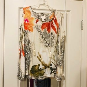 Chico's Floral Off the Shoulder Blouse